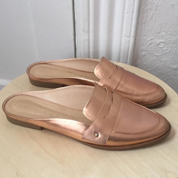 Anthropologie Shoes - Anthropologie Vicenza rose gold loader slides 8